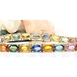 17.00 CTW Natural Sapphire 14K Solid Yellow Gold Bracelet
