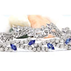 8.50 CTW Natural Tanzanite 14K Solid White Gold Diamond Bracelet