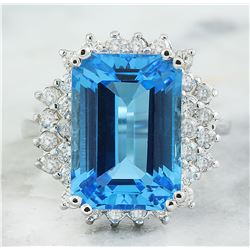 11.59 CTW Topaz 14K White Gold Diamond Ring