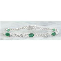 4.03 CTW Emerald 18K White Gold Diamond Bracelet