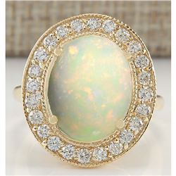 5.25 CTW Natural Opal And Diamond Ring In 14K Yellow Gold