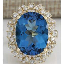 12.07CTW Natural London Blue Topaz And Diamond Ring In18K Solid Yello Gold