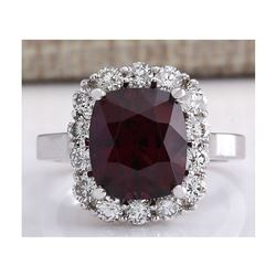 6.17CTW Natural Red Hessonite Garnet And Diamond Ring In14K White Gold