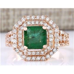 2.66 CTW Natural Emerald And Diamond Ring In 18K Rose Gold