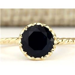 1.30 CTW Natural Blue Sapphire Ring In 18K Yellow Gold