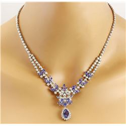 18.86 CTW Natural Tanzanite 18K Solid White Gold Diamond Necklace