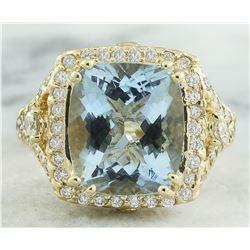 6.17 CTW Aquamarine 14K Yellow Gold Diamond Ring