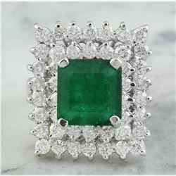 6.50 CTW Emerald 18K White Gold Diamond Ring