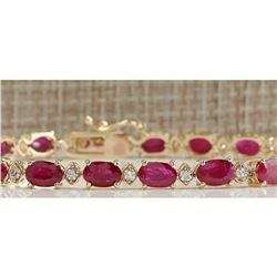 14.26CTW Natural Red Ruby And Diamond Bracelet In 18K Yellow Gold