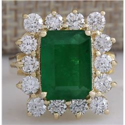 4.91 CTW Natural Emerald And Diamond Ring 18K Solid Yellow Gold
