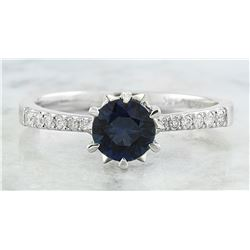 1.18 CTW Sapphire 14K White Gold Diamond Ring