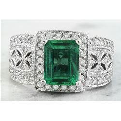 3.06 CTW Emerald 18K White Gold Diamond Ring