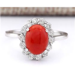 1.95 CTW Natural Coral And Diamond Ring In 18K White Gold