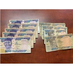 Five-Hundred Naira Bank Notes Lot of 5 and Two-Hundred Naira Bank Notes Lot of 4