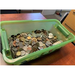 Bin of Assorted Global Currency Coins