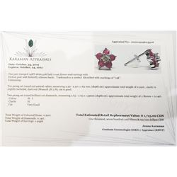 14K White Gold Natural Ruby(0.92ct) Diamond(0.14ct) Earrings (~weight 1.41g), Made in Canada, Apprai