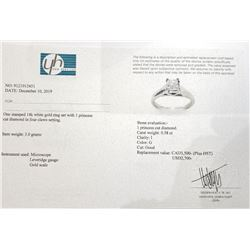 14K White Gold Princess Cut Diamond(0.58Ct,I,G) Ring (~Size 6) (~weight 3g), Made in Canada, Apprais