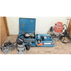 Qty 2 Routers - Porter Cable & Fein RT1800, Makita Driver Drill & Black & Decker Jig Saw (works)
