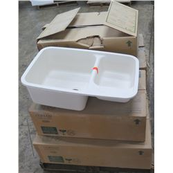Qty 6 Dupont Corian Kitchen Double Sinks, New in Box (retail $400 to $600 each)