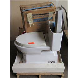 ProFLo White Toilet, Tank & Accessories PF3612 & PF3205, Works, 3 x 3 cultured marble shower pan on