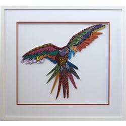 "Patricia Govezensky- Original Painting on Laser Cut Steel ""Macaw XII"""