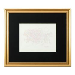 "Guillaume Azoulay, ""Etude AZK"" Framed Original Pencil Drawing, Hand Signed with Letter of Authentici"
