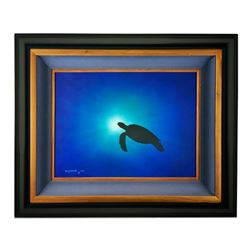 "Wyland, ""Blue Turtle Waters"" Hand Signed Original Painting on Board with Certificate of Authenticity"