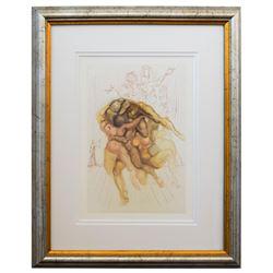 "Salvador Dali- Original Color Woodcut on B.F.K. Rives Paper ""Inferno 8"""