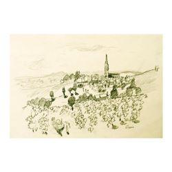 "Wayne Ensrud ""Fleurie in Beaujolais, France"" Pencil Original Artwork; Hand Signed; COA"