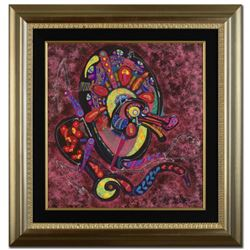 """Fire Dragon"" Original Mixed Media Painting by Renowned Artist Lu Hong, Hand Signed by the Artist wi"