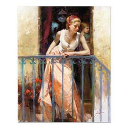 "Pino (1939-2010), ""At the Balcony"" Artist Embellished Limited Edition on Canvas (30"" x 40""), PP Numb"