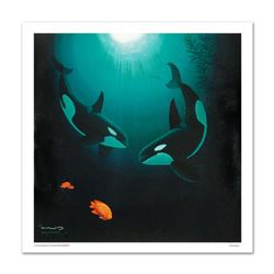 """In the Company of Orcas"" Limited Edition Giclee on Canvas by renowned artist WYLAND, Numbered and H"