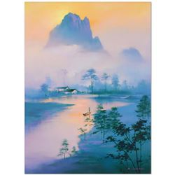 "H. Leung, ""Li River Morning"" Hand Embellished Limited Edition, Numbered 12/100 and Hand Signed with"