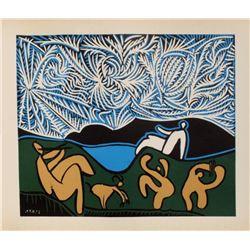 "Pablo Picasso- Linocut ""LC - Bacchanale III"""