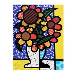 """Romero Britto """"New Sunflower"""" Hand Signed Giclee on Canvas; Authenticated"""