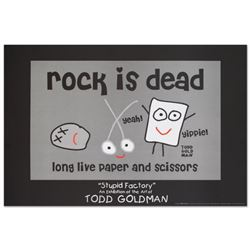 """Rock is Dead"" Fine Art Litho Poster (36"" x 24"") by Renowned Pop Artist Todd Goldman."