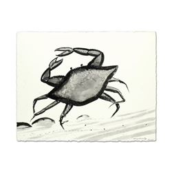 """Wyland, """"Blue Crab"""" Original Sumi Ink Painting, Hand Signed with Certificate of Authenticity."""
