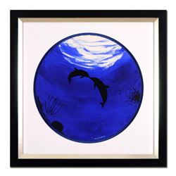 """Wyland, """"Two Dolphins"""" Framed Original Watercolor Painting, Hand Signed with Certificate of Authenti"""