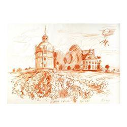 "Wayne Ensrud ""Chateau Latour (Bordeaux)"" Pastel Original Artwork; Hand Signed; COA"