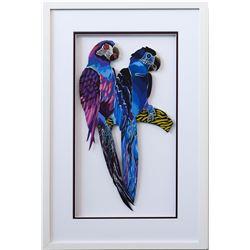 "Patricia Govezensky- Original Painting on Laser Cut Steel ""Two Parrots XIV"""