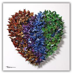 "Patricia Govezensky- Original 3D Metal Art on Wood ""Heart"""