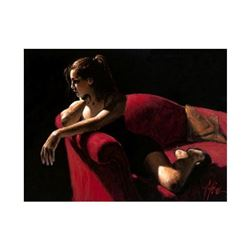 """Fabian Perez, """"Rojo Sillon III 2nd St"""" Hand Textured Limited Edition Giclee on Board. Hand Signed an"""