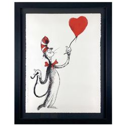 """Mr Brainwash, """"Cat and the Heart (Balloon)"""" Framed Limited Edition Silk Screen. Hand Signed and Numb"""
