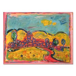 "Wayne Ensrud ""View of Vosne-Romanee, Burgundy"" Mixed Media Original Artwork; Hand Signed; COA"