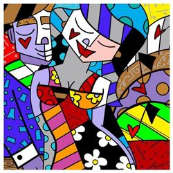"""Romero Britto """"New Tonight"""" Hand Signed Giclee on Canvas; Authenticated"""