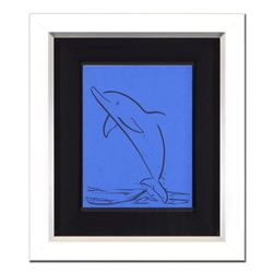 "Wyland, ""Dolphin"" Framed Original Sketch, Hand Signed with Certificate of Authenticity."