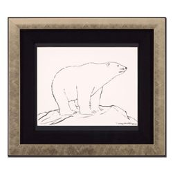 """Wyland, """"Polar Bear"""" Framed Original Sketch, Hand Signed with Certificate of Authenticity."""