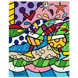 """Romero Britto """"Wine Country Yellow"""" Hand Signed Limited Edition Giclee on Canvas; COA"""