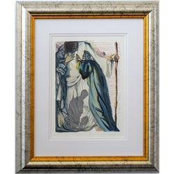"Salvador Dali- Original Color Woodcut on B.F.K. Rives Paper ""Purgatory Canto 14"""