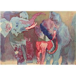 "Edwin Salomon- Original Serigraph ""Elephant Family"""